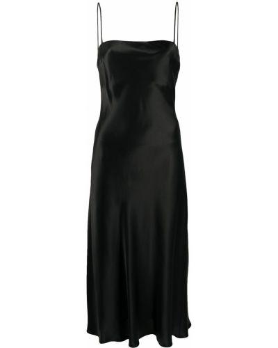 Шелковое черное платье миди с открытой спиной Le Kasha
