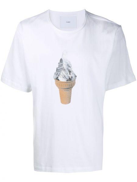 Biały t-shirt bawełniany z printem Goodfight