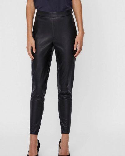 Черные кожаные брюки Vero Moda