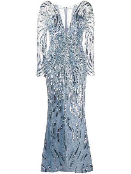 Шелковое синее платье макси с пайетками Zuhair Murad