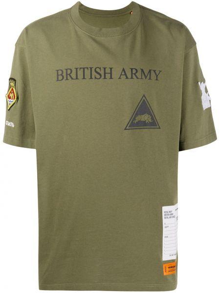 Zielony bawełna prosto koszula krótkie z krótkim rękawem z łatami Heron Preston