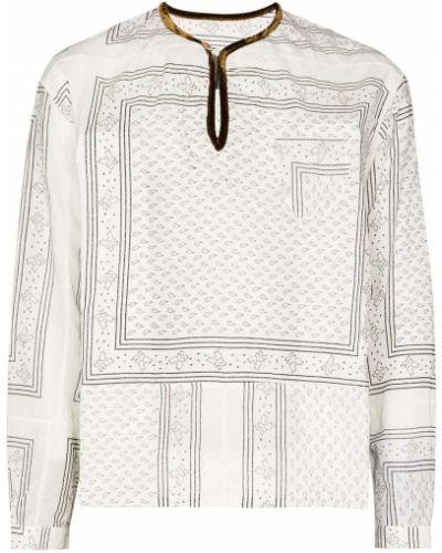 Bawełna biały bawełna bandana z długimi rękawami Visvim