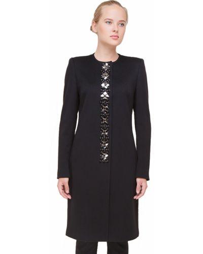 Шерстяное черное пальто с капюшоном Heresis
