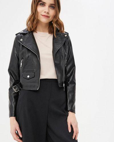 Кожаная куртка черная весенняя Piazza Italia