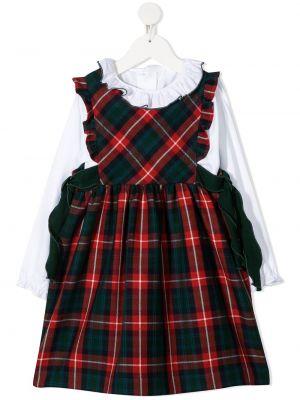 С рукавами шерстяное красное платье миди с оборками Siola