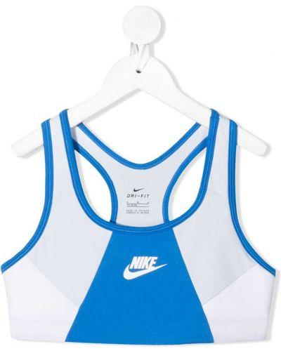 Белый спортивный бюстгальтер эластичный с декоративной отделкой Nike Kids