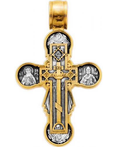 Золотистый крест золотой с декоративной отделкой акимов