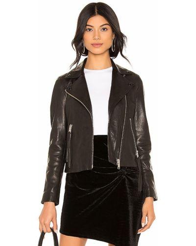 Черная кожаная куртка на молнии Allsaints