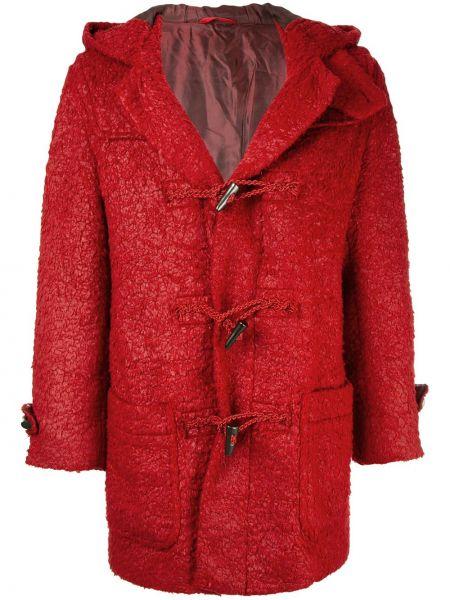 С рукавами красное прямое длинное пальто на пуговицах Issey Miyake Pre-owned