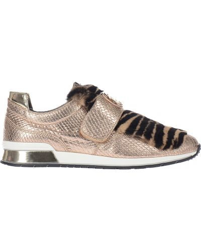 Кожаные кроссовки - золотые Baldinini