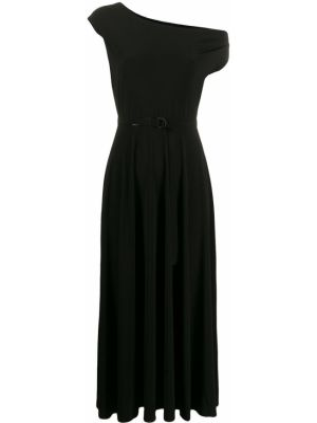 Платье с поясом на одно плечо черное Norma Kamali