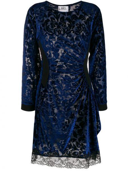 Синее кружевное платье макси с длинными рукавами Koché