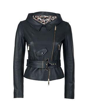 Кожаная куртка черная Elisabetta Franchi