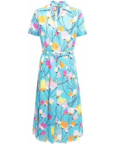 Льняное синее платье с поясом Gucci