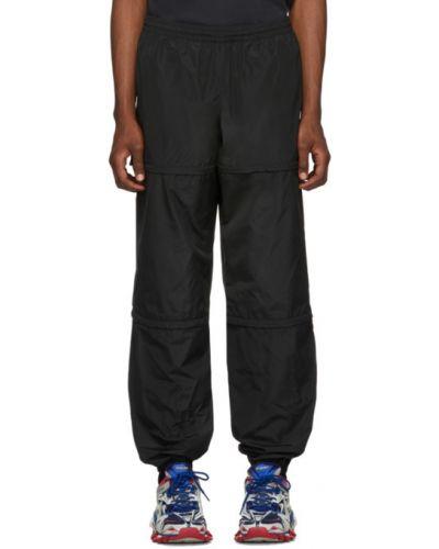 Czarny sportowe spodnie z kieszeniami z mankietami z wiskozy Balenciaga
