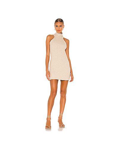 Коричневое шелковое платье с воротником Michael Lauren