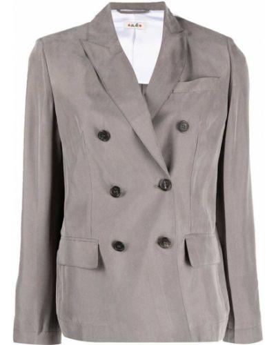 Шелковый серый классический пиджак двубортный Alberto Biani