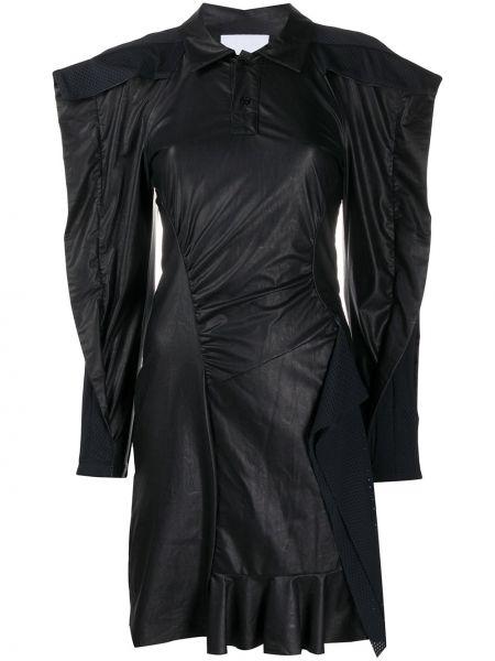 Черное платье макси летучая мышь с воротником Koché