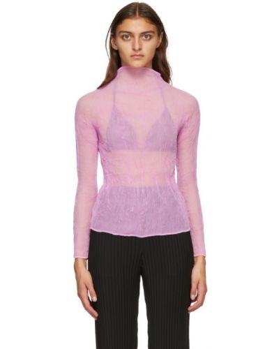 Плиссированная шифоновая розовая блузка с длинным рукавом с воротником Issey Miyake