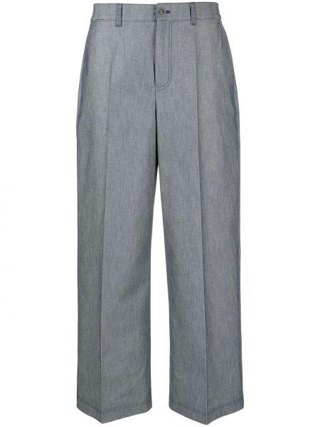 Синие прямые с завышенной талией укороченные брюки Agnona