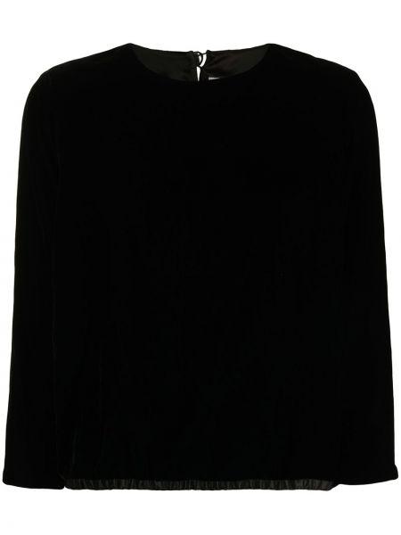 Bluzka z aksamitu - czarna Yves Saint Laurent Pre-owned