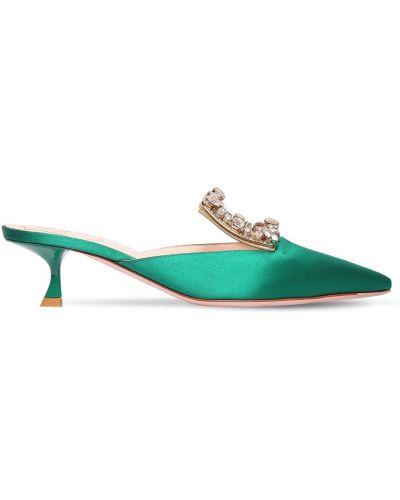 Зеленые сатиновые кожаные туфли с острым носом с пряжкой Roger Vivier