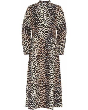 Платье миди леопардовое с принтом Ganni