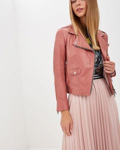 Кожаная куртка осенняя розовая Imperial