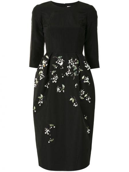 Шелковое с рукавами черное платье миди Carolina Herrera