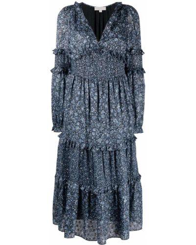 Платье миди в цветочный принт - синее Michael Kors
