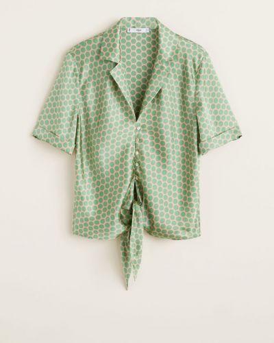 Блузка с коротким рукавом в клетку с поясом Mango