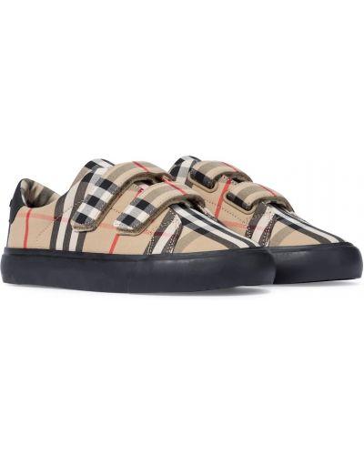 Włókienniczy sneakersy na sznurowadłach zabytkowe na paskach Burberry Kids