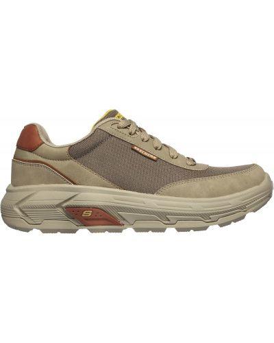Бежевые кожаные кроссовки на шнуровке Skechers