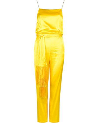 Satynowy żółty kombinezon sportowy z paskiem Patrizia Pepe