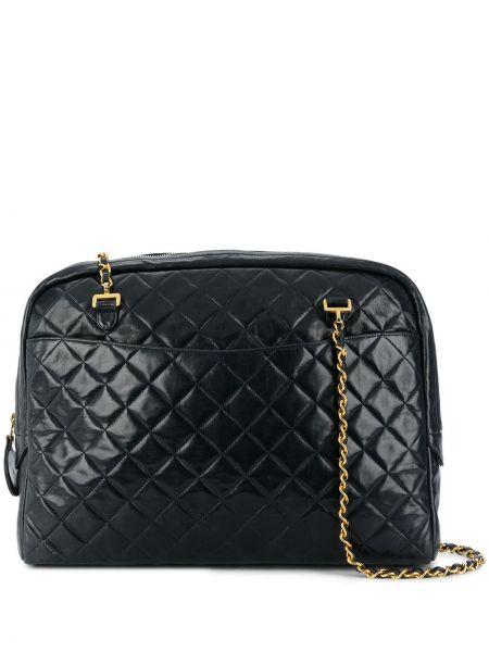 Темно-синяя стеганая сумка на цепочке с бриллиантом на бретелях Chanel Pre-owned