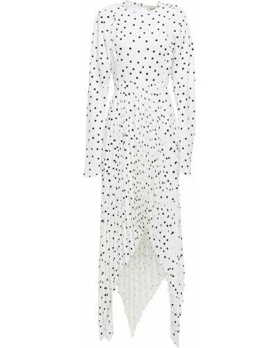 Плиссированное белое платье миди из крепа Khaite