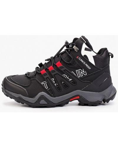 Черные кожаные кроссовки Shuzzi