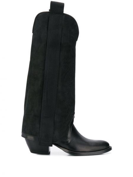 Черные ботинки на каблуке круглые Bruno Bordese