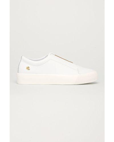 Białe sneakersy na platformie skorzane Lauren Ralph Lauren