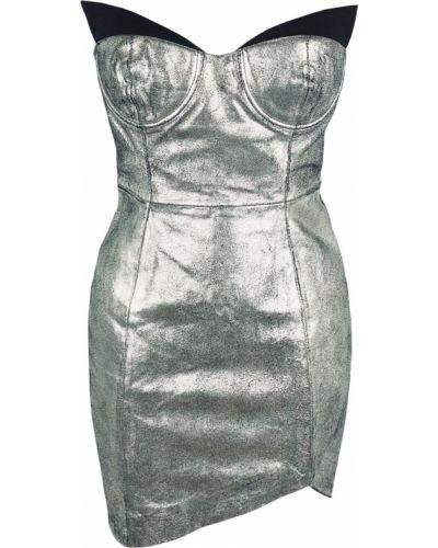 Кожаное платье - серебряное Oneteaspoon