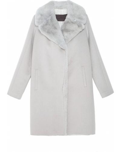 Серое шерстяное пальто с мехом Tegin