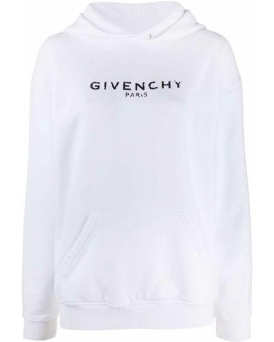 Bawełna z rękawami biały bluza z kapturem z kapturem Givenchy