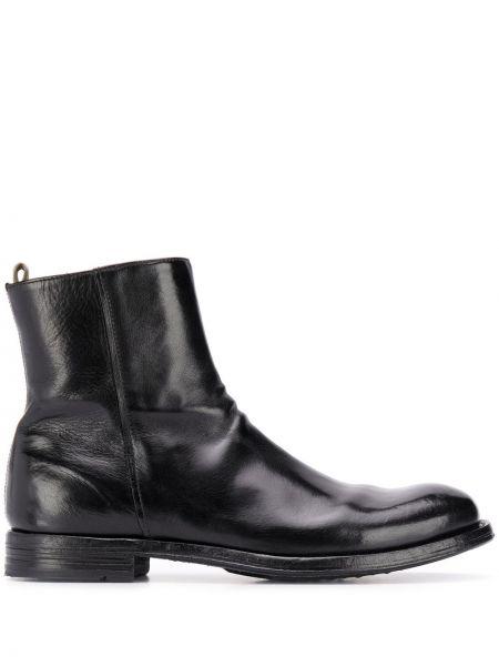 Czarny buty skórzane z prawdziwej skóry na pięcie okrągły nos Officine Creative