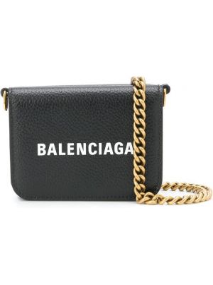 Czarny portfel skórzany z printem Balenciaga