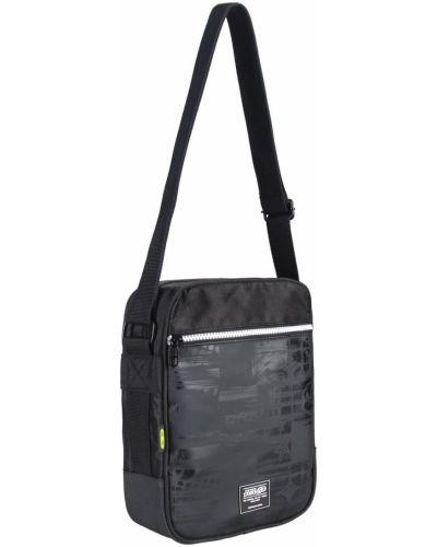 Czarna torba na ramię na rzepy z printem No Fear