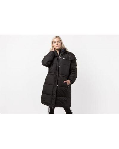 Czarna długa kurtka z kapturem oversize Fila