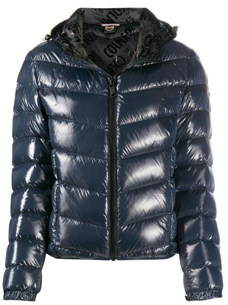 Пуховая с рукавами синяя длинная куртка с перьями Colmar