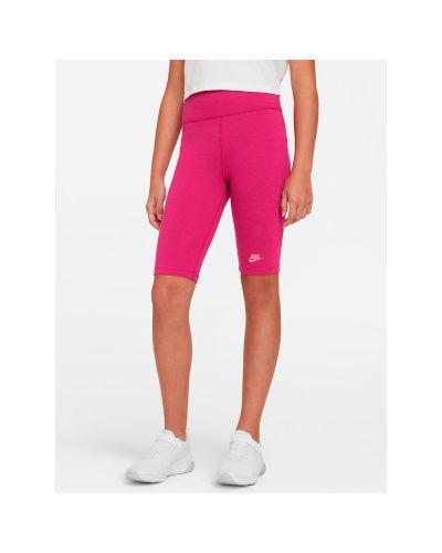 Облегающие хлопковые розовые брюки Nike