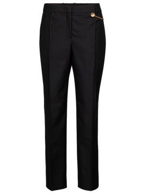 Wełniany czarny klasyczne spodnie przycięte Givenchy