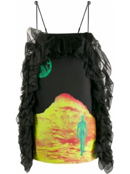 Satynowa sukienka - czarna Christopher Kane
